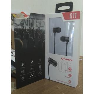 Headset Vivan Q11 Stereo Original Handsfree Earphone Extra Bass