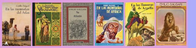 Portadas de la novela clásica de aventuras En las montañas del atlas