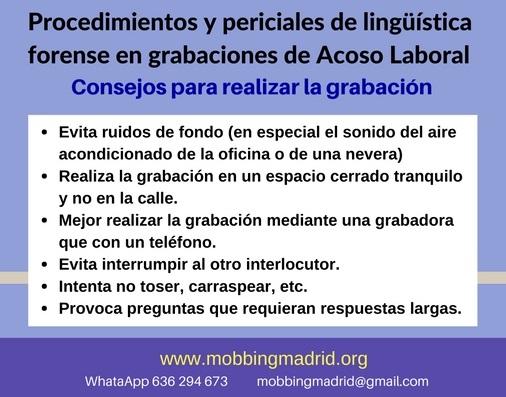 MobbingMadrid Procedimientos y periciales de lingüística forense en grabaciones involucradas en casos de Acoso Laboral