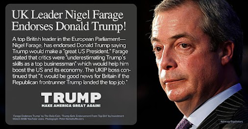 #VoteTrump2016: UK Leader Nigel Farage Endoreses #Trump #TrumpTrai... http://socialmediavote.blogspot.com...