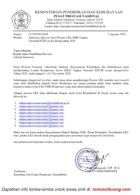 Informasi Aktivasi Surel Email Peserta LKS SMK Tingkat Nasional XVIII secara daring tahun 2020 tomatalikuang.com