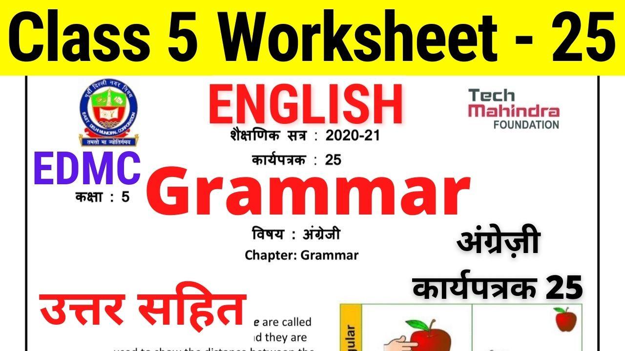 EDMC Class 5 Worksheet 25 English अंग्रेज़ी कार्यपत्रक 25 English Grammar worksheet with solution
