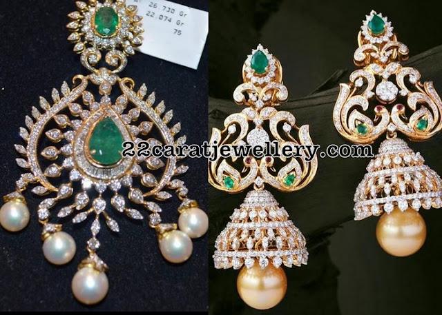 Diamond Pendant Dazzling Jhumkas