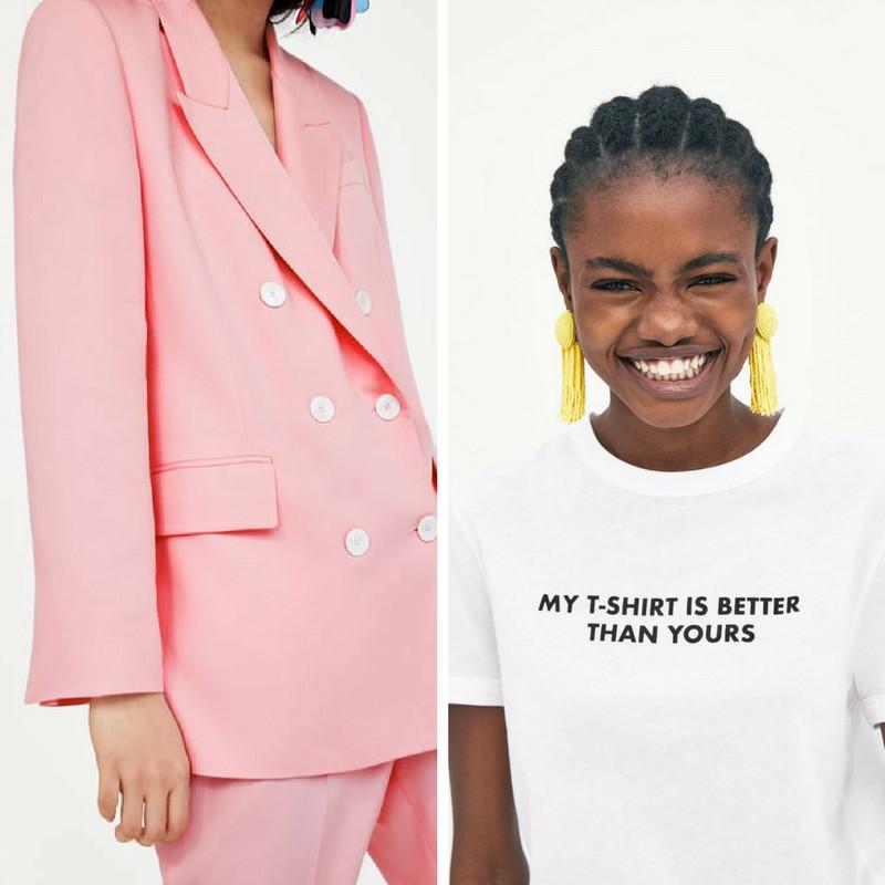 americana rosa blazer doble botonadura camiseta blanca mensaje