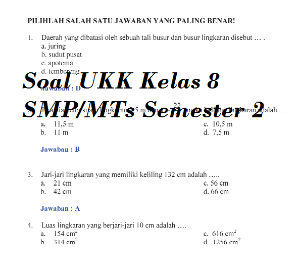 Soal Ukk Kelas 8 Smp Mts Folder Pendidikan