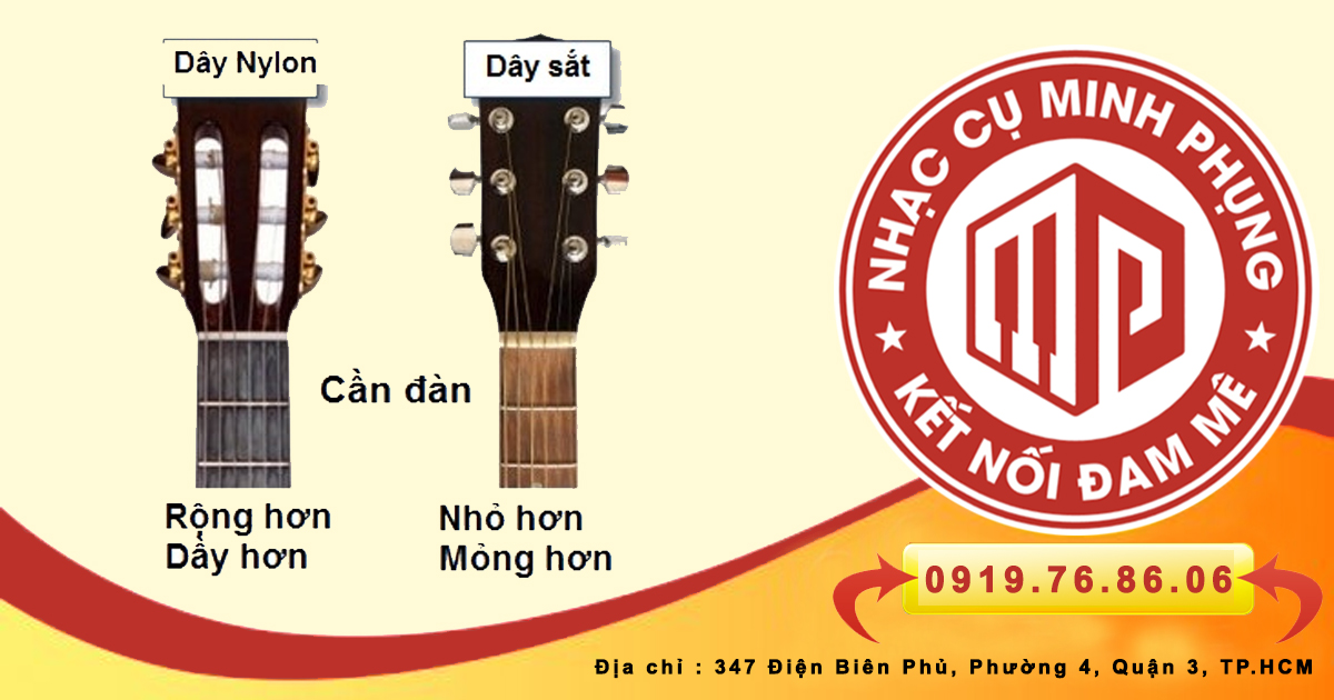 Dây đàn guitar acoustic và guitar classic khác nhau chỗ nào