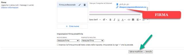 aggiunta della firma professionale in gmail