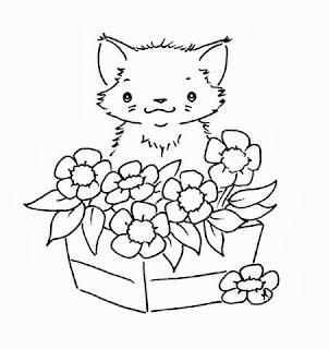 desenho para pintar gatinha na floreira