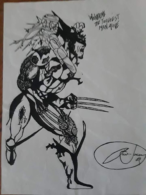 A drawing of Wolverine being attacked while running by artist Tommy Laccorn.
