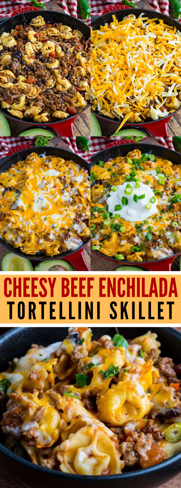 Cheesy Beef Enchilada Tortellini Skillet #dinner #cheese