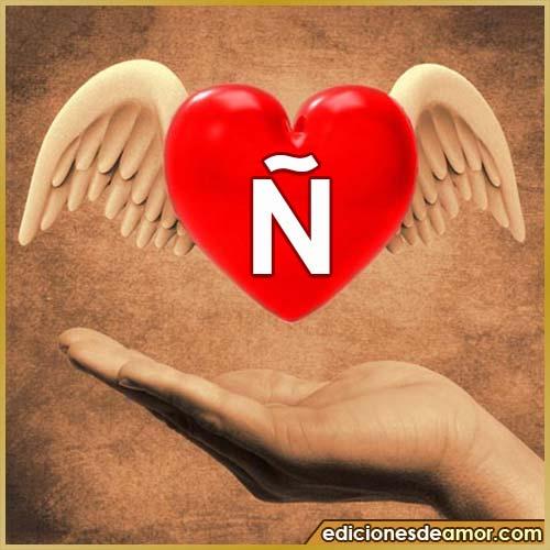 corazón con alas con letra Ñ