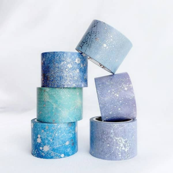 washi tape set in blues and lavenders with silver constellation etchings