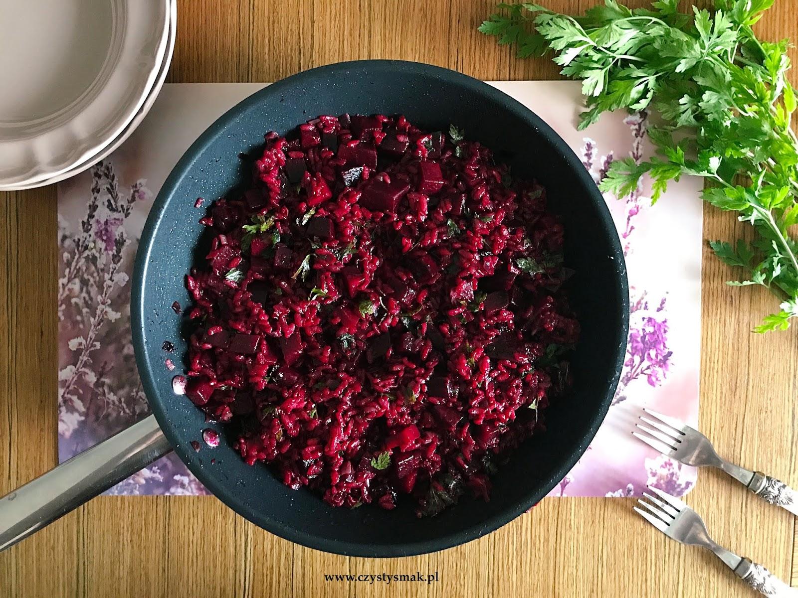 czerwone risotto z burakami