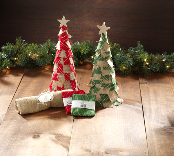 Holiday Burlap Fabric Ribbon Paper Mache Cones @craftsavvy @sarahowens #craftwarehouse #diy #papermache #holiday #party