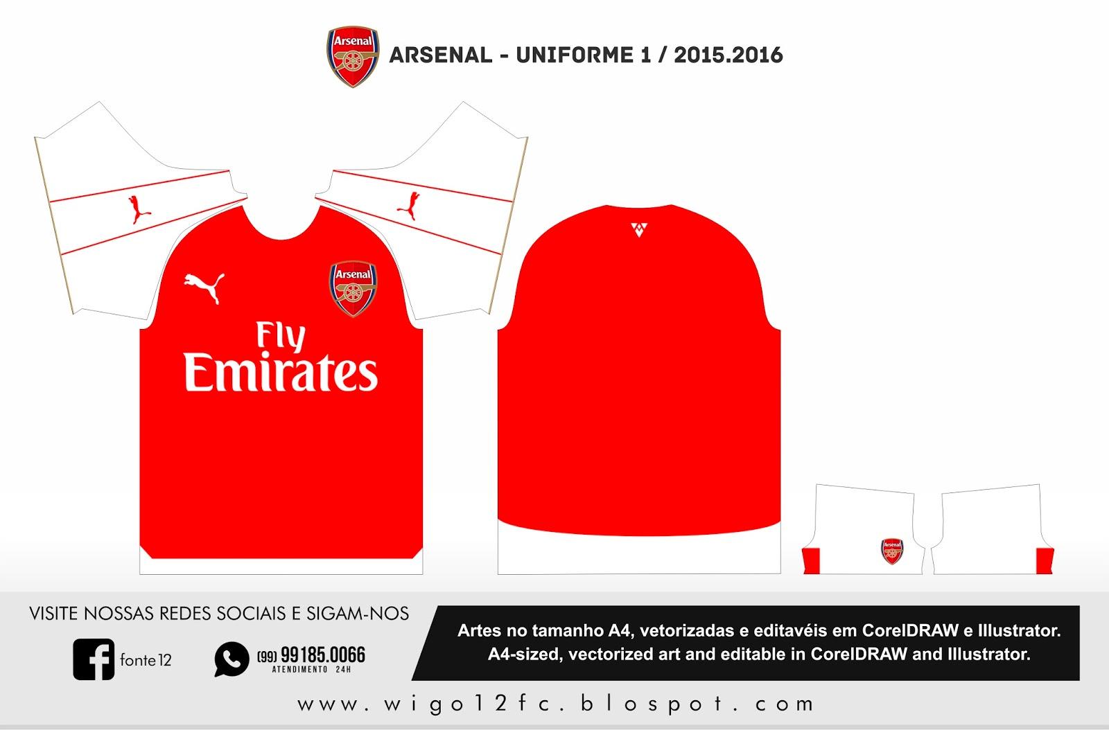 Fontes Camisas de Futebol  Uniforme Arsenal 2015-2016 7ade710ca310b