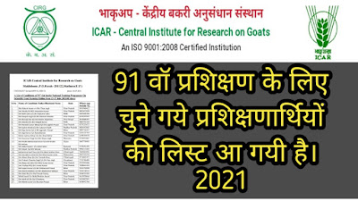 CIRG - Goat Farming Training Candidates Selection List 2021