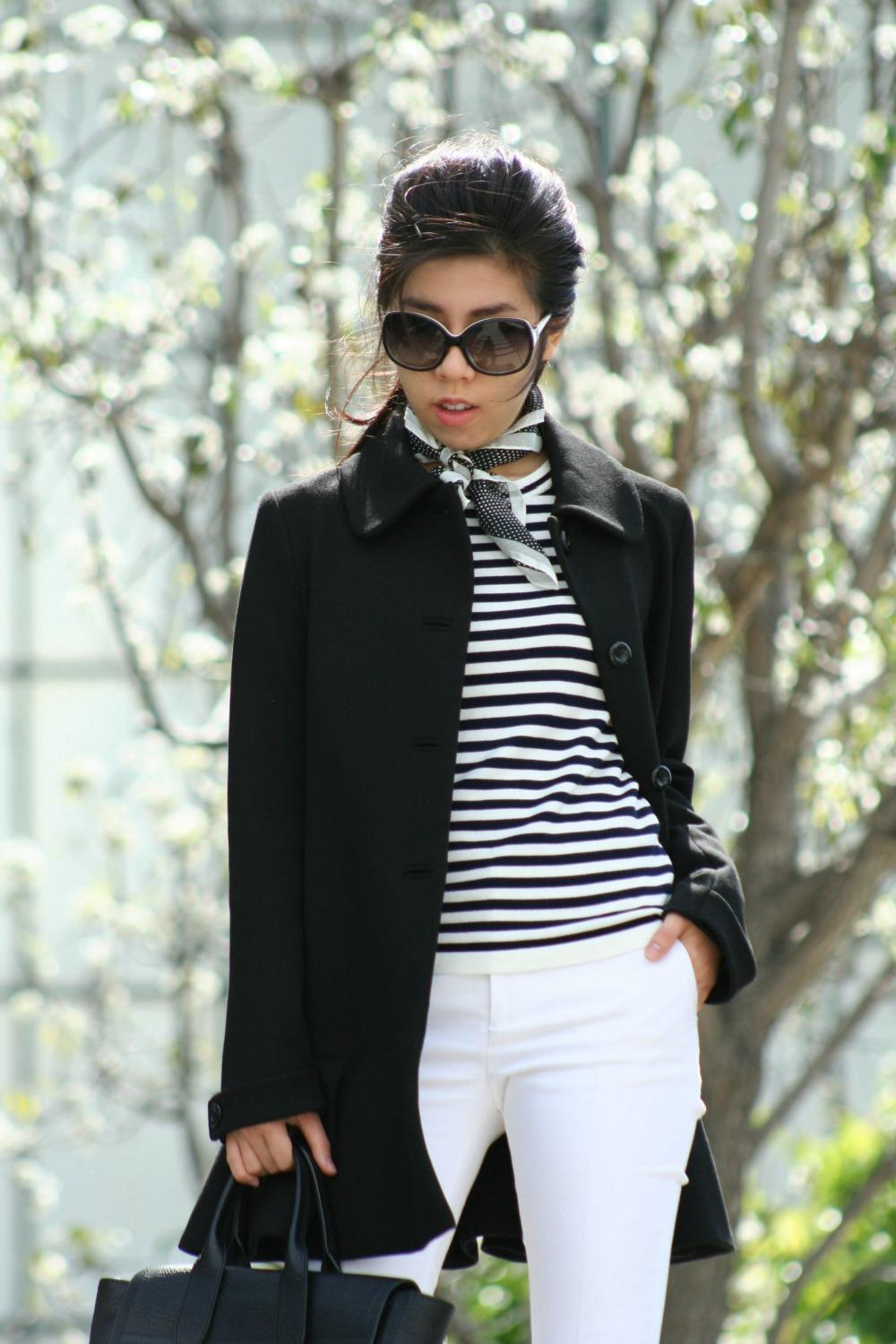 What to Wear with a Polka Dot Silk Scarf - Casual French Girl Look - Parisian Style - Classic Striped Tee with White Pants - Adrienne Nguyen - Invictus