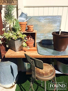 creative spaces, DIY, diy decorating, farmhouse style, fast cheap and easy, garden, furniture, industrial, junk makeover, junking, outdoors, re-purposing, rustic style, salvaged, spring, up-cycling, vintage, potting bench, galvanized metal, in the yard