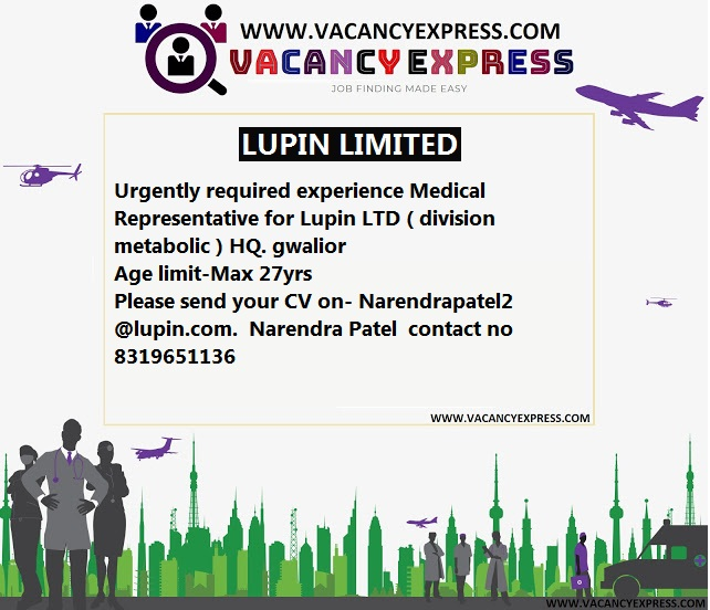 LUPIN LIMITED URGENT DRIVE - VACANCY EXPRESS