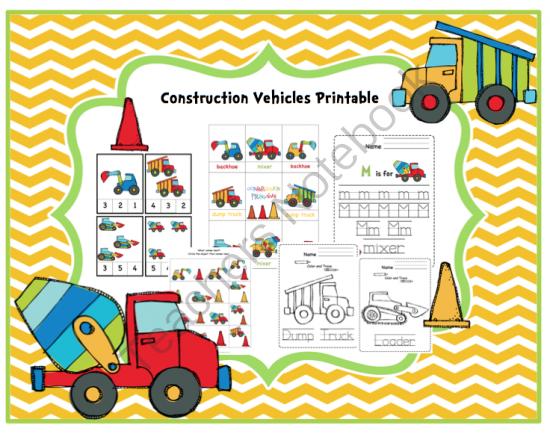 Construction Vehicles Printable