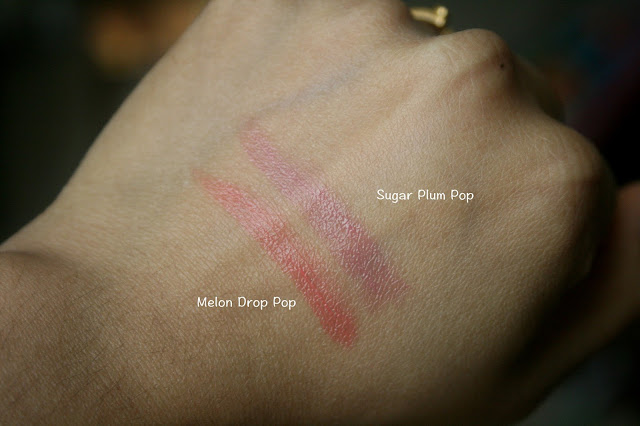 Clinique Pop Glaze Sheer Lip Color + Primer in Melon Drop Pop and Sugar Plum Pop Swatches