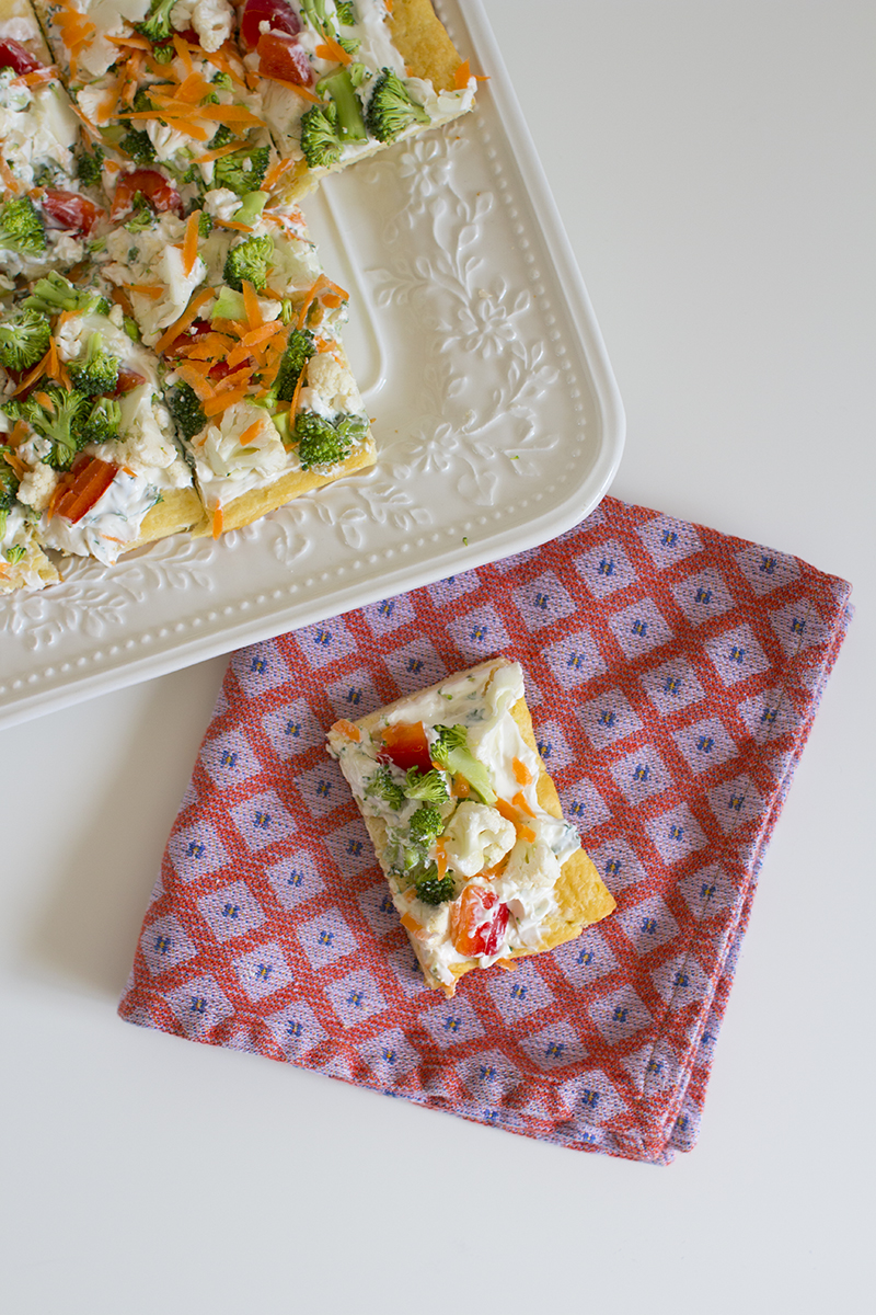 Easy veggie square appetizer