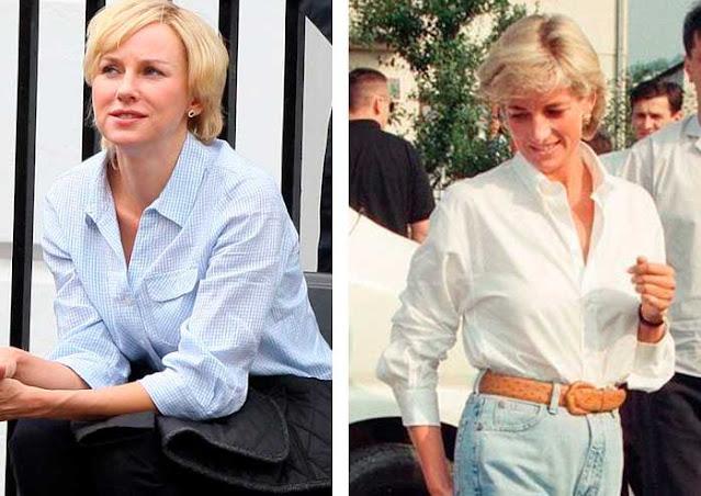 Diana (Naomi watts) e foto real mesmo look