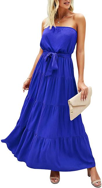 Women's Blue Strapless Maxi Dresses