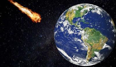 Ilustrasi asteroid menabrak bumi