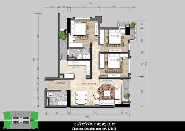 Thiết kế căn hộ 115m2 tòa I4