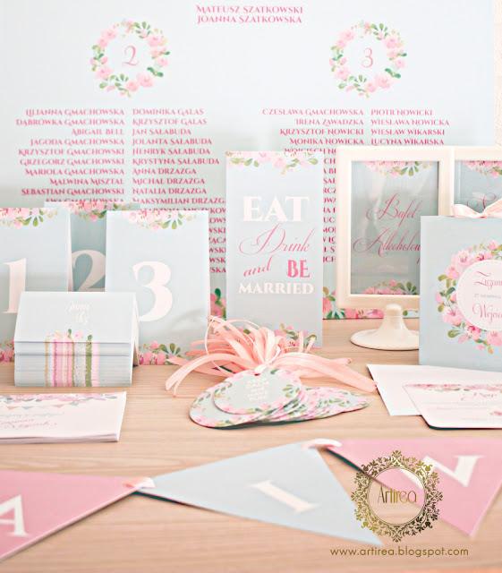 pastelowe rozowo mietowe zaproszenie slubne i dodatki na wesele