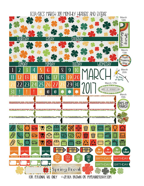 Free Printable March 2017 Monthly Headers & Extras for the ECLP from myplannerenvy.com