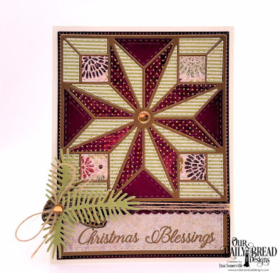Our Daily Bread Designs Stamp Set: Card Greetings, Paper Collections, Christmas 2015, Coordinating Christmas 2015, Custom Dies, Star Quilt, Pierced Rectangles, Double Stitched Rectangles, Pinecones, Pine Branches, Bitty Borders