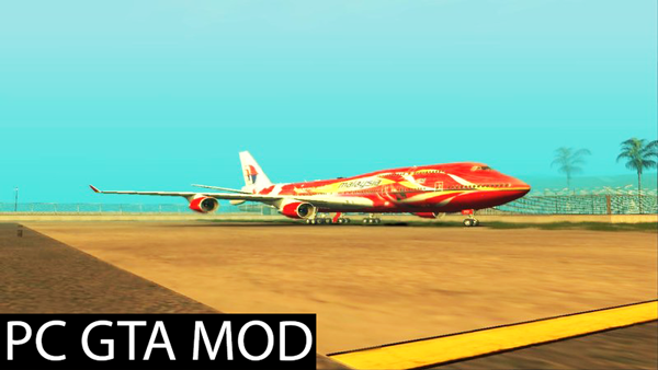 Free Download  Boeing 747-400 Malaysia Airlines (Hibiscus Livery)  Mod for GTA San Andreas.