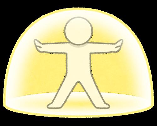 バリアを張る棒人間のイラスト(半球)