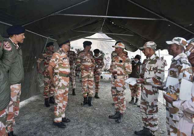 ITBP DG SS Deswal seen with his troops in one of the forward areas near LAC during a visit last week.