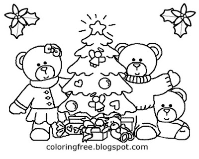 Cool winter coloring pages for children cute happy Christmas tree clip art black and white teddy toy