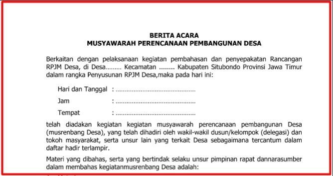 Download draft Berita Acara Musrenbangdesa Terbaru  Download draft Berita Acara Musrenbangdesa Terbaru