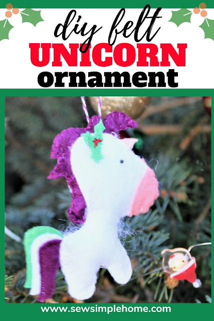 Sew your own felt diy unicorn ornament with this simple tutorial and PDF sewing pattern or SVG cut file.