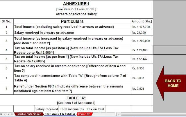 Relief under section 89(1) for arrears of salary With Automated Income Tax Arrears Relief Calculator U/s 89(1) with Form 10E from F.Y.2000-01 to F.Y. 2019-20 in Excel 10