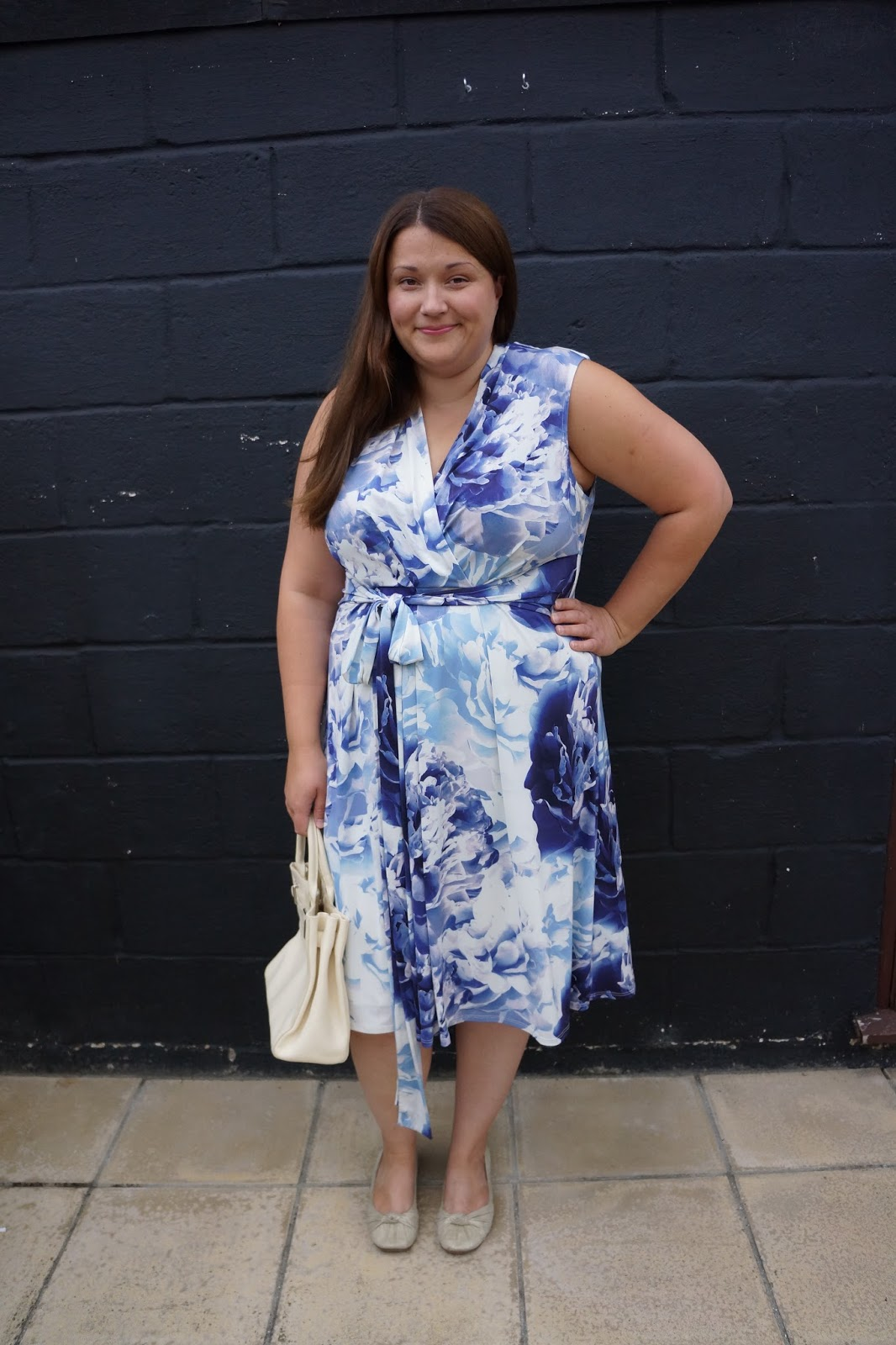 phase 8 bright blue and white flower summer dress with a bow