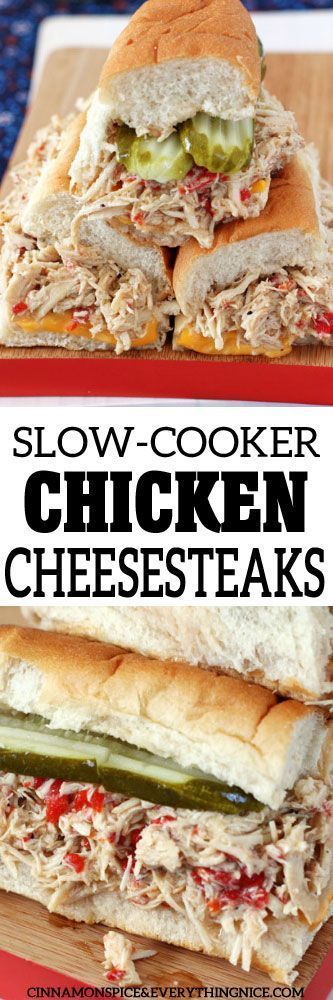 Slow-cooked, seasoned chicken breasts piled high on soft, toasted hoagie rolls with melty cheese and all your favorite toppings.