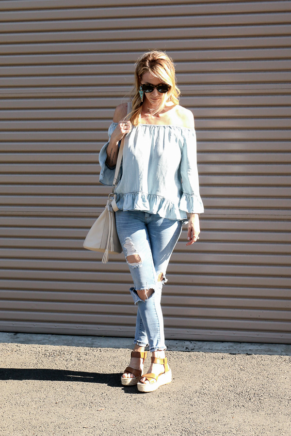 denim ruffle peasant top