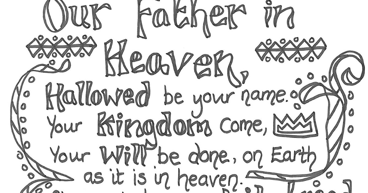 This is a photo of The Lord's Prayer Coloring Pages Printable in catholic