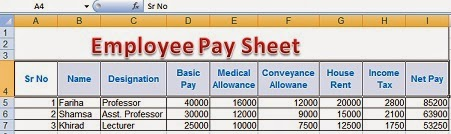Employees Pay Sheet Formulas Complete MS Excel Worksheet