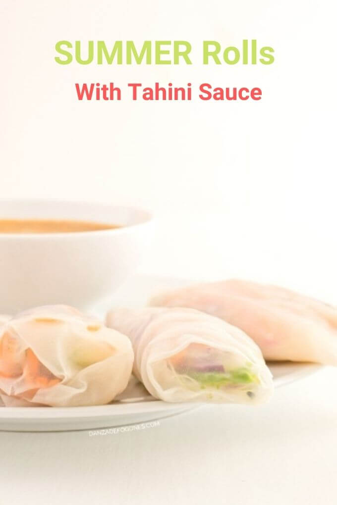 Summer rolls with tahini sauce - danceofstoves.com #vegan