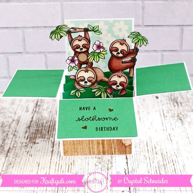 Sunny Studio Stamps: Silly Sloths Pop-up Box Card by Crystal Schneider