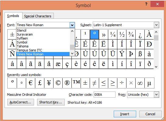MS Word Symbols