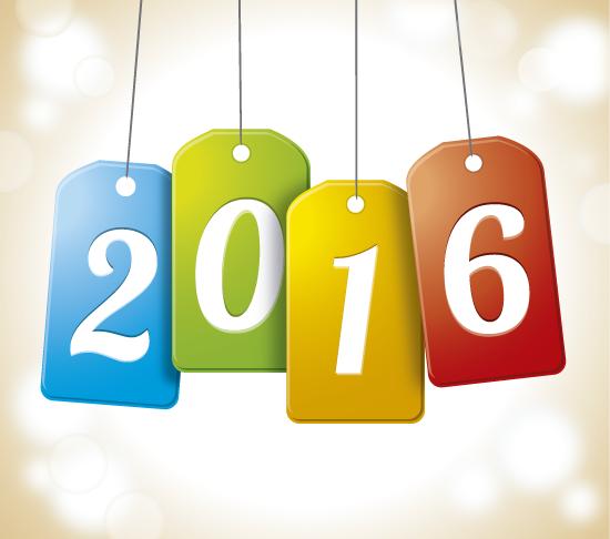 2016 en forma de etiquetas