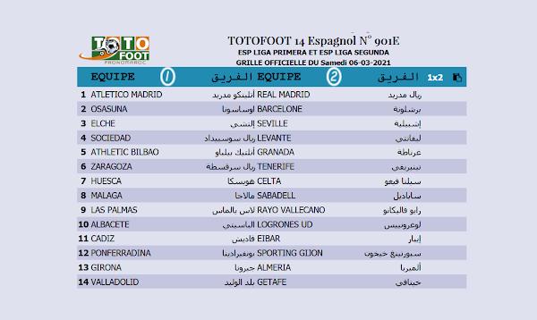 PRONOSTIC TOTOFOOT 14 Espagnol N° 901E